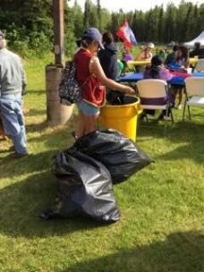 emptying trash