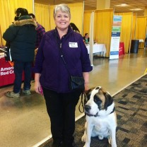 service dog and volunteer