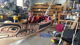 Rick Janelle, Michael Wanzenried, Gary Lawton - Everett Althorp's hand-carved canoe